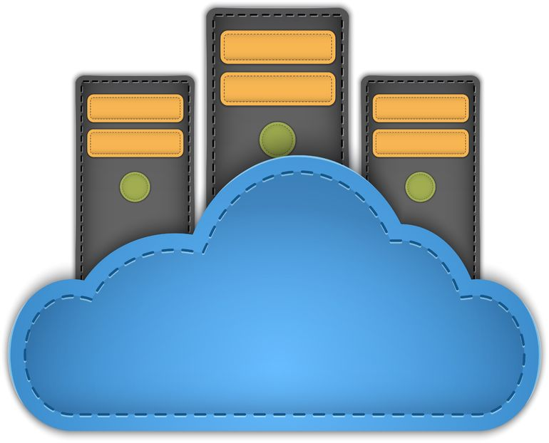 17411880 - cloud computing concept with servers in the cloud made of leather.